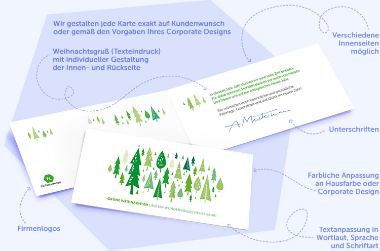 Gesch ftliche weihnachtskarten mit texteindruck for Weihnachtskarten mit firmenlogo