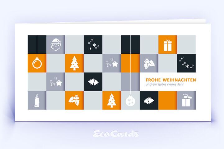 Öko Weihnachtskarte Nr. 1002 orange mit einer Zeichnung ist mit einem kreativen Kartenmotiv bedruckt.