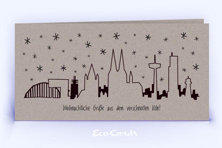 Öko Weihnachtskarte Nr. 1004 grau mit Köln Panorama ist mit einem modernen Layout bedruckt.