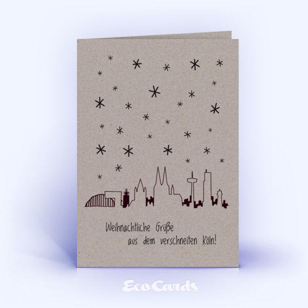 Öko Weihnachtskarten Nr. 1011 grau mit kölner Silhouette sind mit einem modernen Motiv bedruckt.