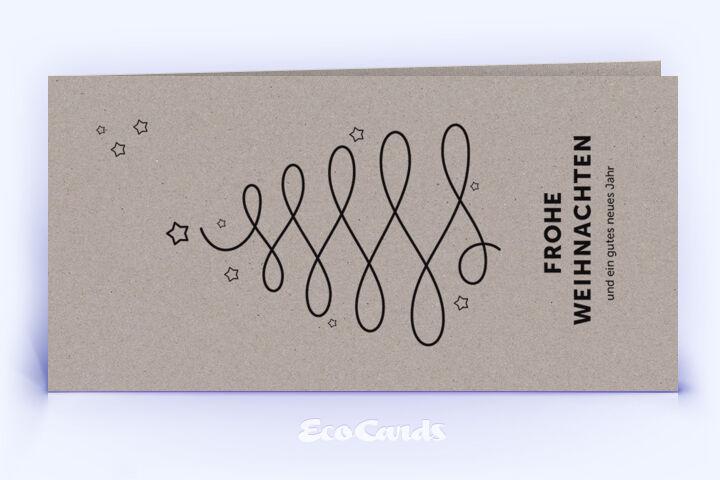 Öko Weihnachtskarte Nr. 1014 grau mit Christbaum zeigt eine individuelle Gestaltung.