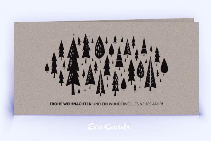 Öko Weihnachtskarte Nr. 1018 grau mit zahlreichen Weihnachtsbäumen ist mit einem schönen Design bedruckt.