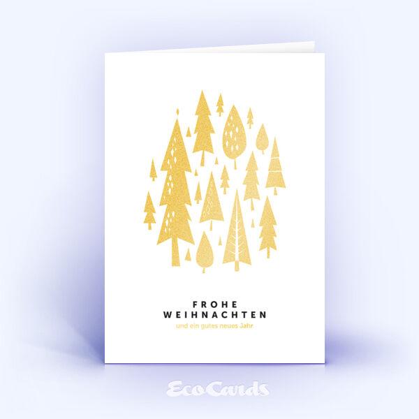 Öko Weihnachtskarten Nr. 1019 gold mit zahlreichen Weihnachtsbäumen sind mit einem schönen Kartenmotiv bedruckt.