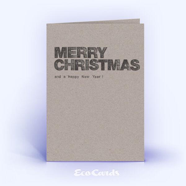 Öko Weihnachtskarten Nr. 1023 grau mit einem typografisch gestalteten Weihnachtsmotiv sind mit einem schlichten Artwork bedruckt.