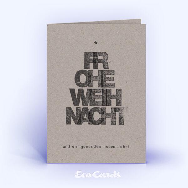 Öko Weihnachtskarten Nr. 1027 grau mit einem typografischem Design zeigen ein individuelles Kartenmotiv.