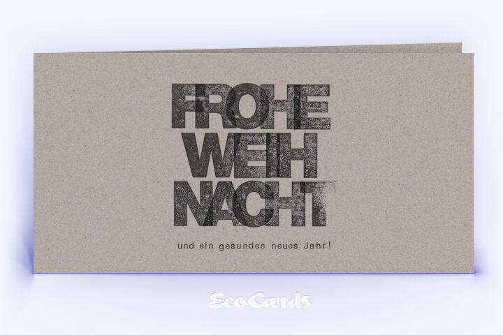 Öko Weihnachtskarte Nr. 1030 grau mit typografischem Layout zeigt ein besonderes Kartenmotiv.