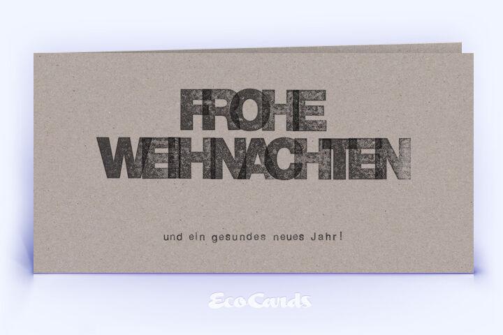 Dankeskarte Nr. 1032 grau mit einem typografisch gestalteten Weihnachtsmotiv