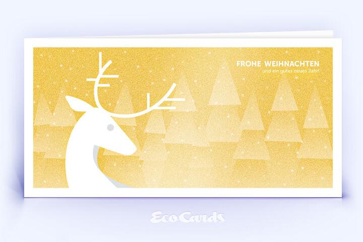 Öko Weihnachtskarte Nr. 1040 gold mit Hirschmotiv zeigt ein exklusives Layout.
