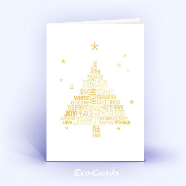 Öko Weihnachtskarten Nr. 1045 gold mit typografisch gestaltetem Weihnachtsgruß zeigen ein kreatives Kartenmotiv.