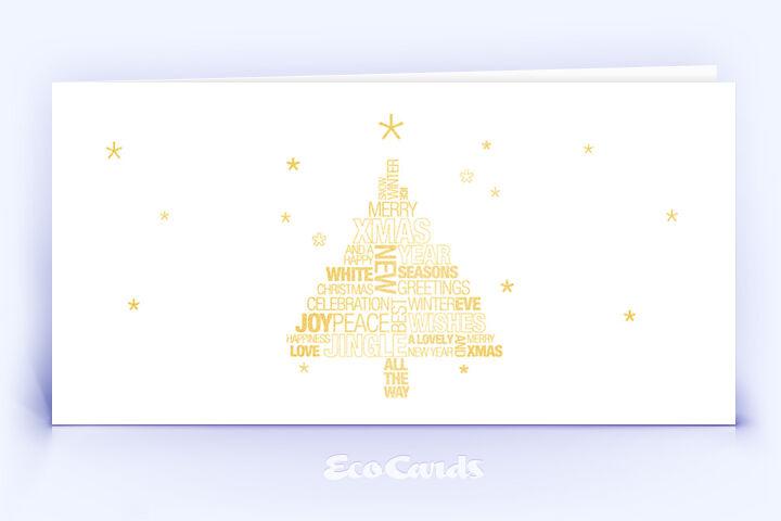Öko Weihnachtskarte Nr. 1046 gold mit typografischem Weihnachtsgruß ist mit einem edlen Layout bedruckt.