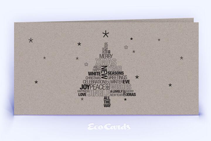 Öko Weihnachtskarte Nr. 1048 grau mit einem typografisch gestalteten Design ist mit einem ausgefallenen Layout bedruckt.