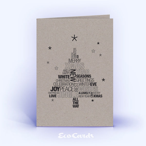 Öko Weihnachtskarten Nr. 1049 grau mit einem typografischem Motiv sind mit einem exklusiven Layout bedruckt.