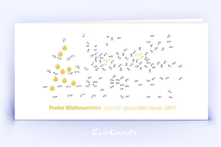 Öko Weihnachtskarte Nr. 1050 gold mit Bilderrätsel zeigt ein individuelles Weihnachtsdesign.