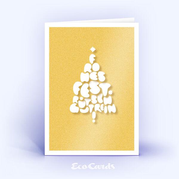Öko Weihnachtskarten Nr. 1051 gold mit einem Christbaum zeigen ein besonderes Kartenmotiv.