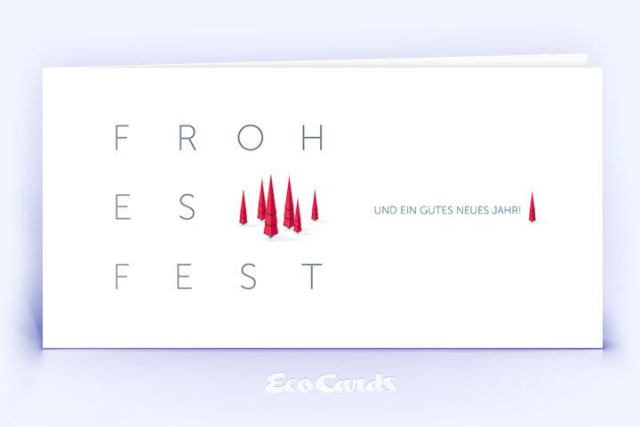 Öko Weihnachtskarte Nr. 1074 rot mit Weihnachtsbäumen zeigt eine schlichte Gestaltung.