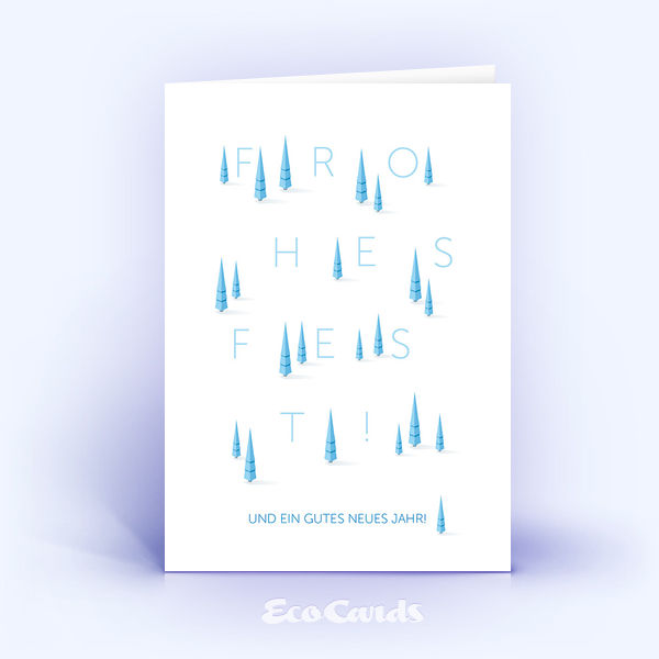 Öko Weihnachtskarten Nr. 1075 hellblau mit Weihnachtsbäumen zeigen eine originelle Gestaltung.