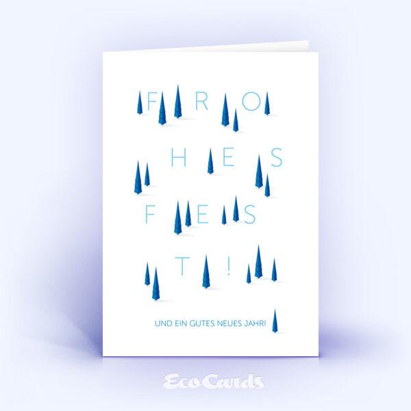 Öko Weihnachtskarten Nr. 1081 blau mit mehreren Weihnachtsbäumen zeigen ein abstraktes Motiv.
