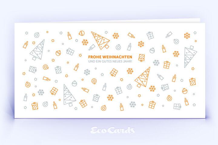 Öko Weihnachtskarte Nr. 1092 orange mit einer weihnachtlichen Illustration zeigt ein individuelles Kartenmotiv.