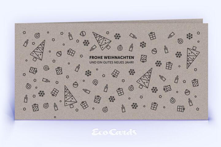 Öko Weihnachtskarte Nr. 1100 grau mit einer Illustration ist mit einem schönen Layout bedruckt.