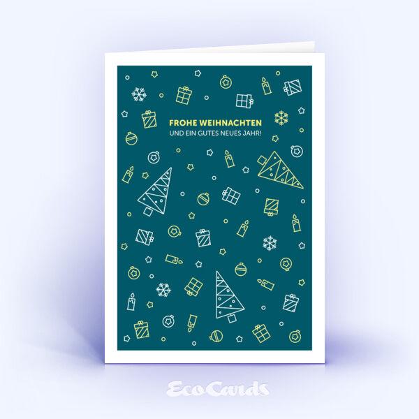 Öko Weihnachtskarten Nr. 1101 tuerkis mit weihnachtlicher Illustration zeigen ein kreatives Kartenmotiv.