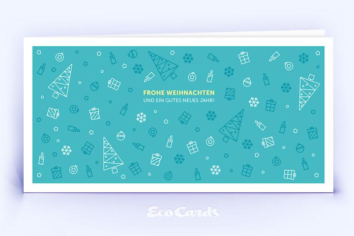Öko Weihnachtskarte Nr. 1110 tuerkis mit Illustration zeigt ein besonderes Kartenmotiv.