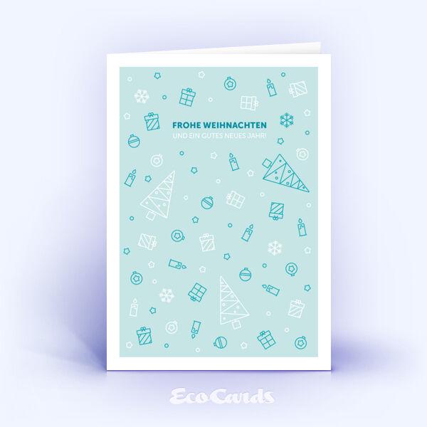 Öko Weihnachtskarten Nr. 1111 hellblau mit Illustration sind mit einem besonderen Kartenmotiv bedruckt.