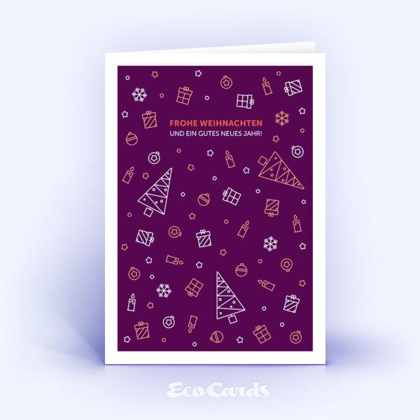 Öko Weihnachtskarten Nr. 1115 lila mit weihnachtlicher Illustration sind mit einem modernen Kartenmotiv bedruckt.