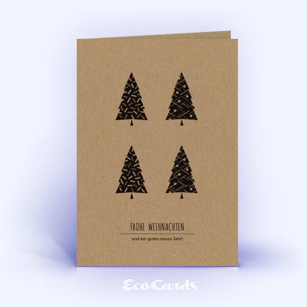 Öko Weihnachtskarten Nr. 1119 naturfarben mit verschiedenen Weihnachtsbäumen sind mit einem individuellen Kartenmotiv bedruckt.