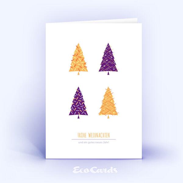 Öko Weihnachtskarten Nr. 1121 orange mit Weihnachtsbäumen zeigen ein schönes Layout.