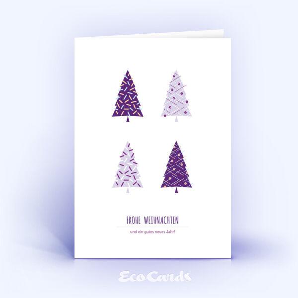 Öko Weihnachtskarten Nr. 1127 violett mit weihnachtlicher Illustration sind mit einem modernen Motiv bedruckt.