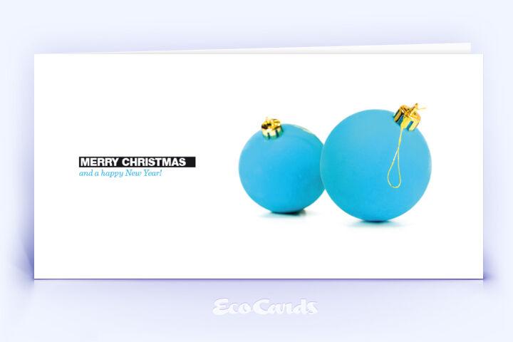Öko Weihnachtskarte Nr. 114 blau mit Weihnachtskugeln ist mit einem schlichten Design bedruckt.