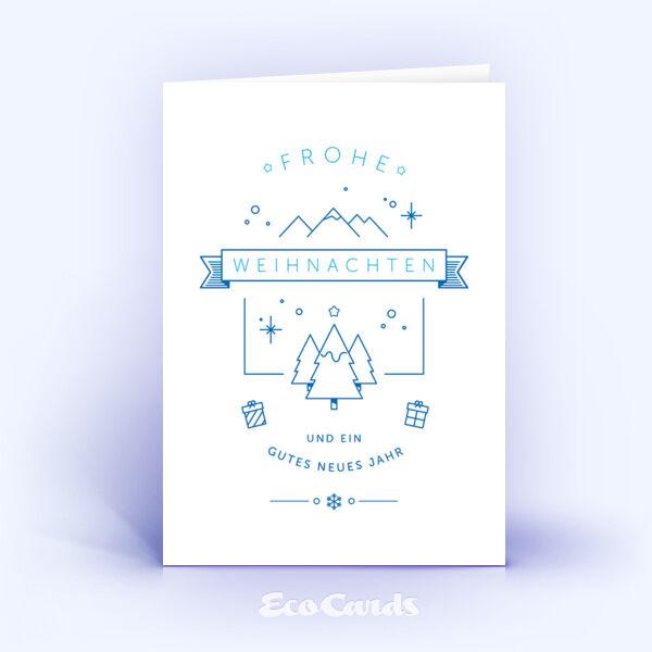 Öko Weihnachtskarten Nr. 1153 dunkelblau mit einer weihnachtlichen Illustration sind mit einem stilvollen Kartenmotiv bedruckt.