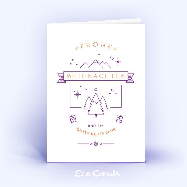 Öko Weihnachtskarten Nr. 1155 violett mit einer Illustration zeigen ein kreatives Kartenmotiv.
