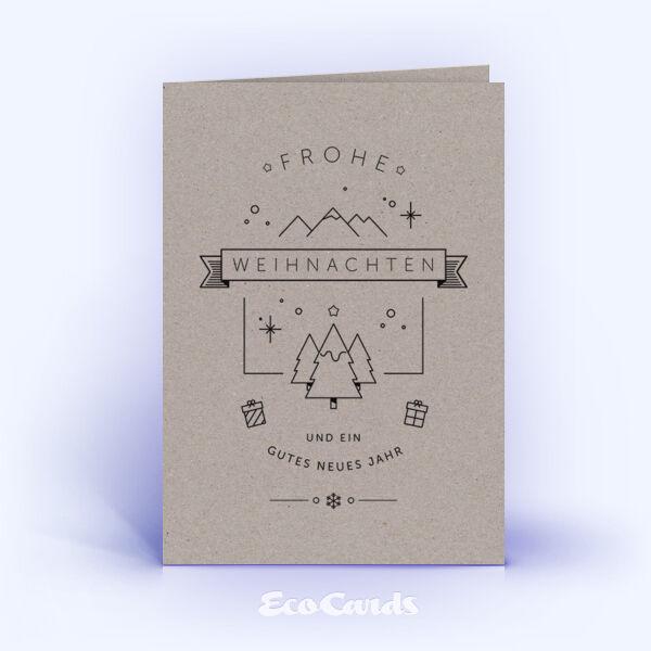 Öko Weihnachtskarten Nr. 1159 grau mit einer Illustration sind mit einem besonderen Layout bedruckt.