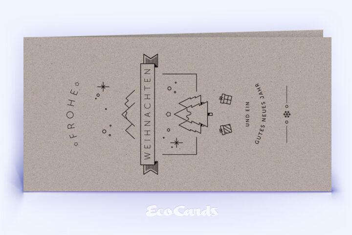 Öko Weihnachtskarte Nr. 1162 grau mit einer Illustration zeigt ein modernes Artwork.