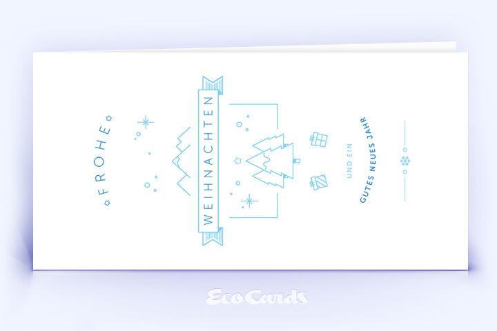 Öko Weihnachtskarte Nr. 1172 blau mit einer weihnachtlichen Illustration ist mit einem edlen Layout bedruckt.