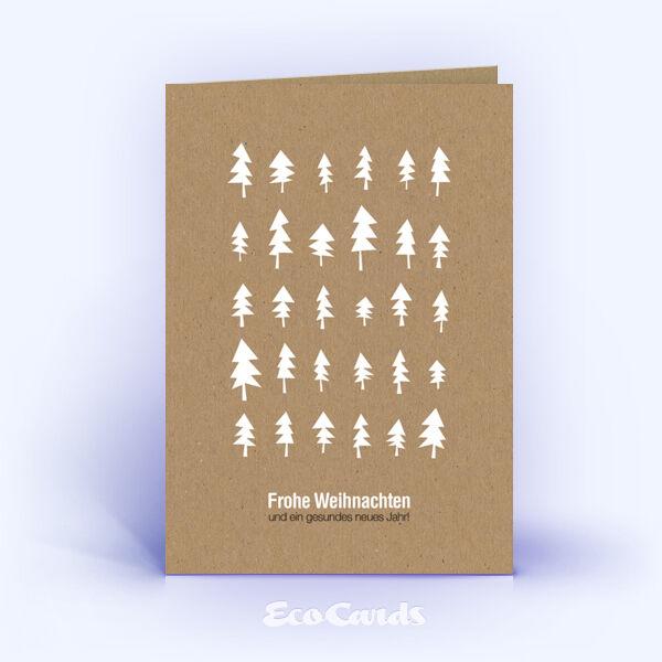 Öko Weihnachtskarten Nr. 1195 naturfarben mit mehreren Weihnachtsbäumen sind mit einem abstrakten Motiv versehen.
