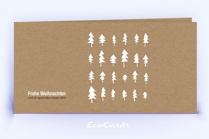 Öko Weihnachtskarte Nr. 1196 naturfarben mit zahlreichen Weihnachtsbäumen zeigt ein abstraktes Kartenmotiv.