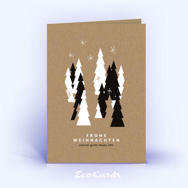 Öko Weihnachtskarten Nr. 1203 naturfarben mit mehreren Weihnachtsbäumen sind mit einem abstrakten Motiv versehen.