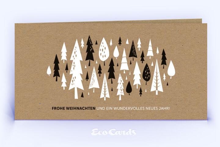 Öko Weihnachtskarte Nr. 1212 naturfarben mit Weihnachtsbäumen zeigt ein schönes Kartenmotiv.