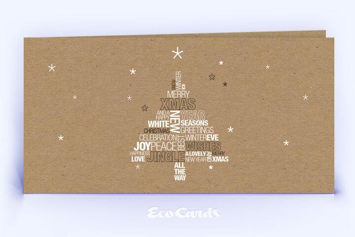 Öko Weihnachtskarte Nr. 1218 naturfarben mit Wortwolke zeigt ein originelles Design.