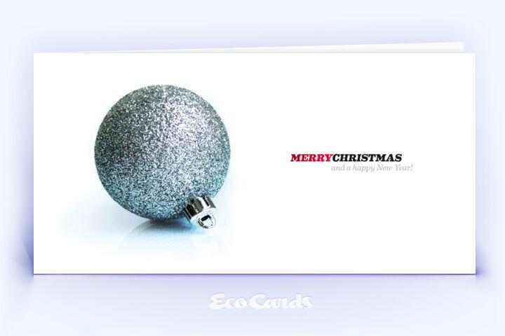 weihnachtskarte 122 silber mit einer weihnachtskugel zeigt. Black Bedroom Furniture Sets. Home Design Ideas