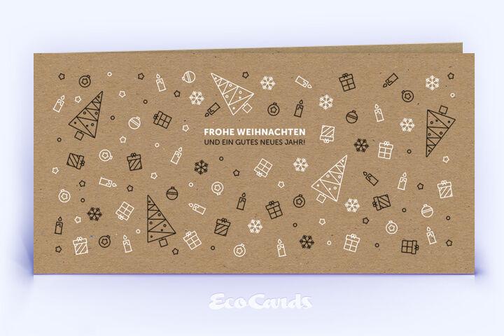 Öko Weihnachtskarte Nr. 1220 naturfarben mit Illustration zeigt ein kreatives Design.