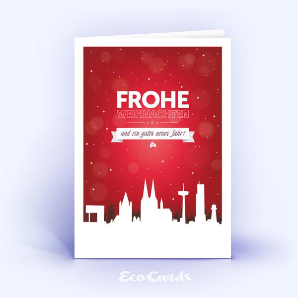 Öko Weihnachtskarten Nr. 1229 rot mit einer Köln Skyline sind mit einem modernen Motiv versehen.