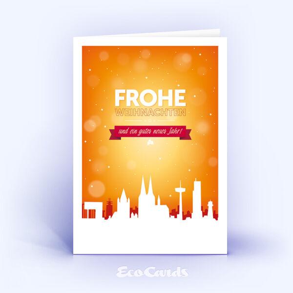 Öko Weihnachtskarten Nr. 1231 orange mit Köln Motiv zeigen ein stylishes Weihnachtsmotiv.