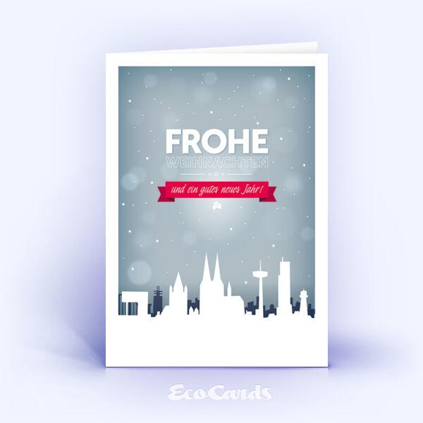 Öko Weihnachtskarten Nr. 1235 grau mit Köln Motiv zeigen ein ausgefallenes Design.