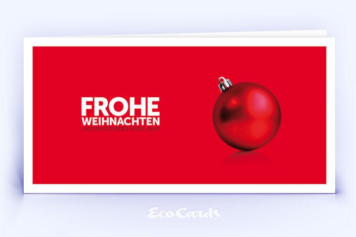 Weihnachtskarte Nr. 124 rot mit einer Weihnachtskugel