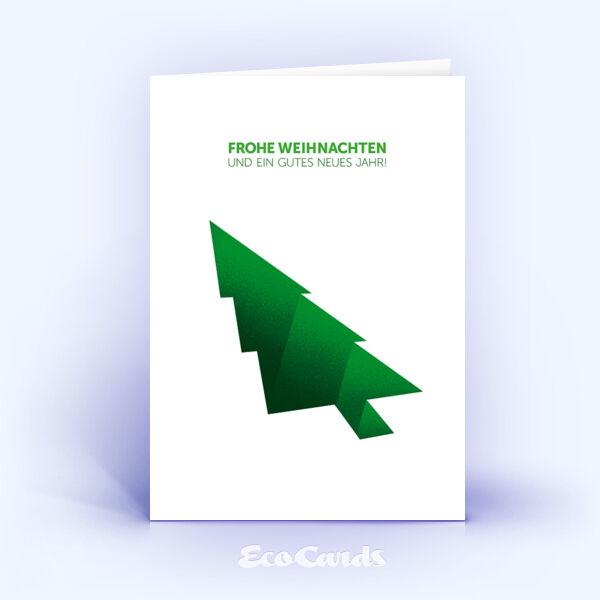 Öko Weihnachtskarten Nr. 1245 gruen mit einem Weihnachtsbaum zeigen ein originelles Weihnachtsmotiv.