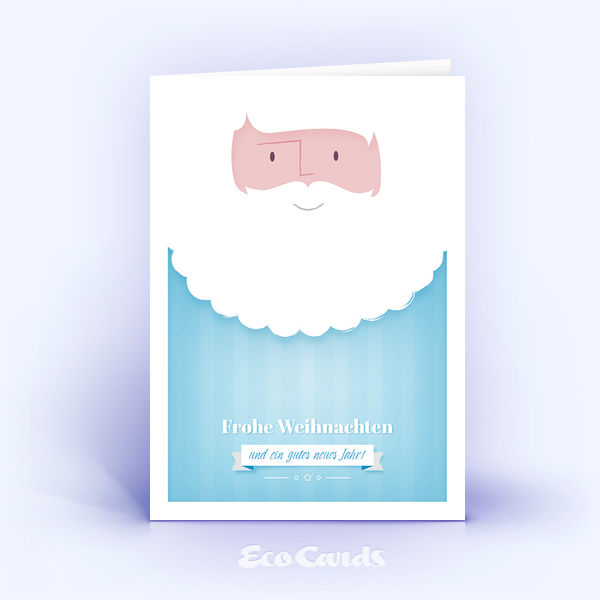 Öko Weihnachtskarten Nr. 1251 hellblau mit einem Weihnachtsmann sind mit einem besonderen Kartenmotiv versehen.