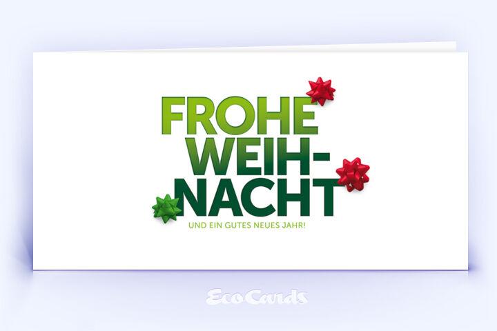 Öko Weihnachtskarte Nr. 1254 gruen mit einem typografischem Design zeigt ein stilvolles Design.